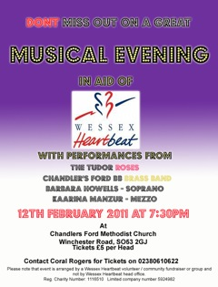 BB Band Concert, with Tudor Roses at Chandlers Ford Methodist Church £5